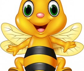 Cartoon cute bee vector 01