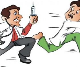 Cartoon doctors with patient vector