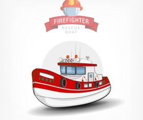 Cartoon fire boat template vector 01