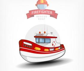 Cartoon fire boat template vector 02