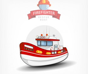 Cartoon fire boat template vector 03