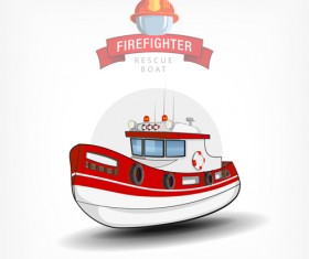 Cartoon fire boat template vector 04