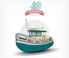 Cartoon fish boat vector material 03