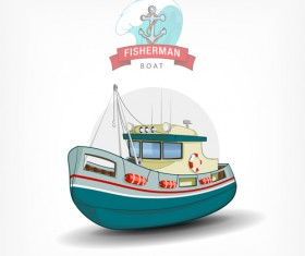 Cartoon fish boat vector material 04