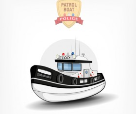 Cartoon police boat vector material 01