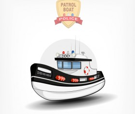 Cartoon police boat vector material 02