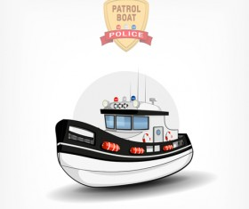 Cartoon police boat vector material 03