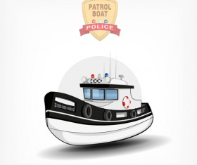 Cartoon police boat vector material 04