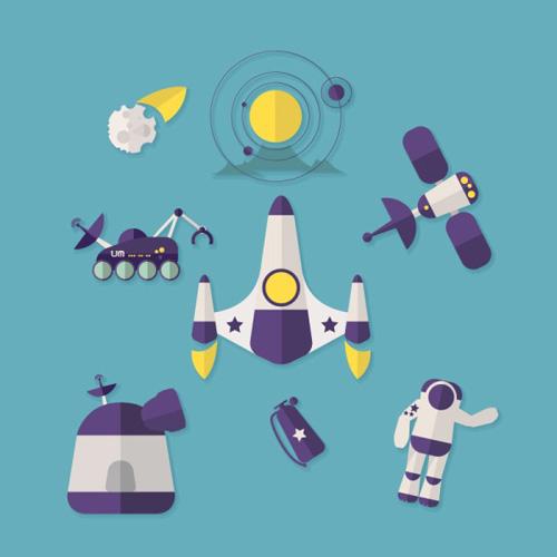 cartoon spaceship vector material - vector cartoon free download