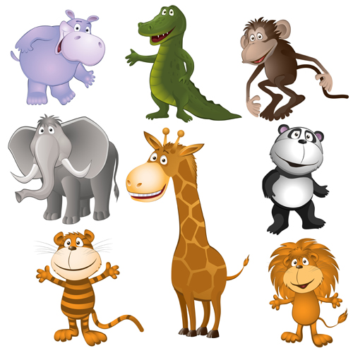 Cartoon wild animal vector material free download