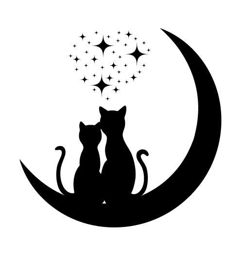 Cats Love With Moon Vector 03 Vector Animal Vector