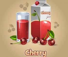 Cherry juice with cup vector