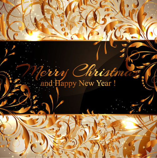 chirstmas with new year background and golden floral vector