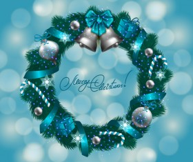 Christamas wreath with halation background vector 01