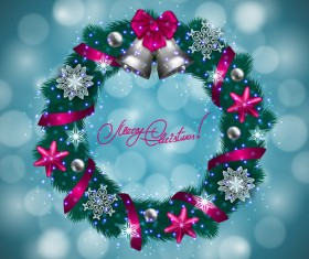 Christamas wreath with halation background vector 02