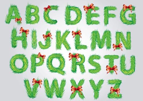 Christmas alphabet letters design vector set 01 free download