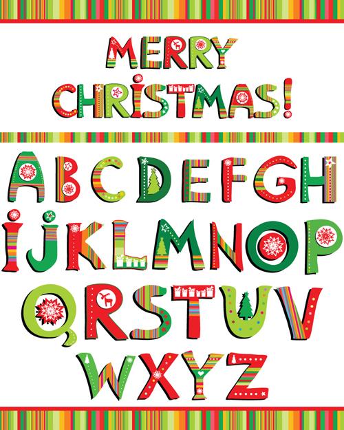 Christmas alphabet letters design vector set 02 free download - Alphabet noel ...