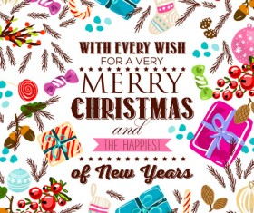 Christmas candy with gift hand drawn vector background 01