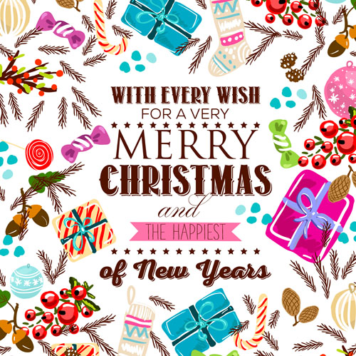 Christmas candy with gift hand drawn vector background 01 - Vector ...
