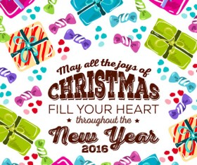 Christmas candy with gift hand drawn vector background 02