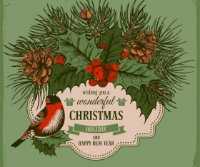 Christmas cards holly berries and fir-cone with bird vector 03