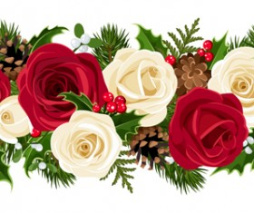 Christmas holly berries and fir-cone with rose border vector