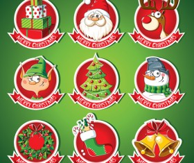 Christmas lables peeling stickers vector 01