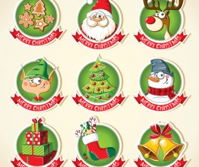 Christmas lables peeling stickers vector 02