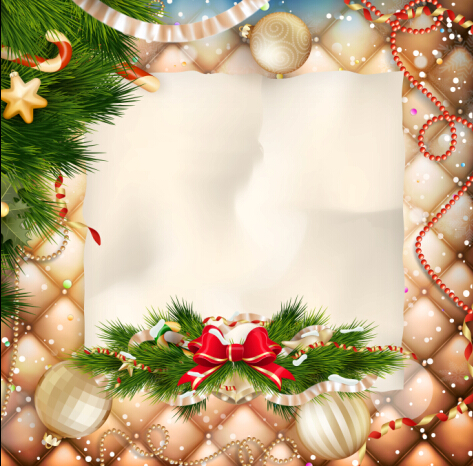 Christmas ornate background with greeting cards vector 05 ...