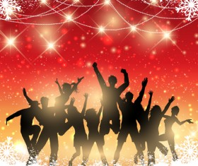 Christmas party background with people silhouetter vector 01