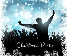 Christmas party background with people silhouetter vector 02