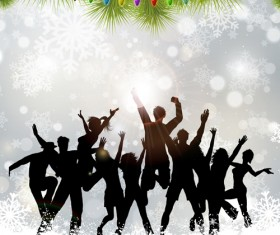 Christmas party background with people silhouetter vector 03