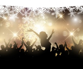 Christmas party background with people silhouetter vector 04