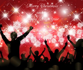 Christmas party background with people silhouetter vector 06