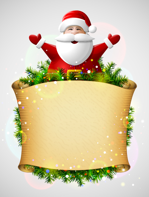 christmas santa with paper background vector free download