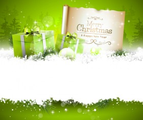 Christmas stripe green gifts with paper vector