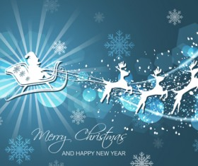 Christmas with new year reindeer and snowflake vector background 01