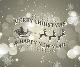 Christmas with new year reindeer and snowflake vector background 02