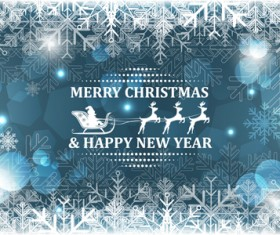 Christmas with new year reindeer and snowflake vector background 03