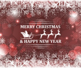 Christmas with new year reindeer and snowflake vector background 04