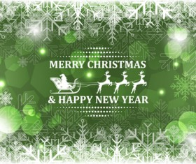 Christmas with new year reindeer and snowflake vector background 05