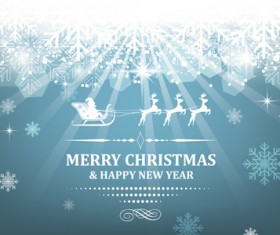 Christmas with new year reindeer and snowflake vector background 06