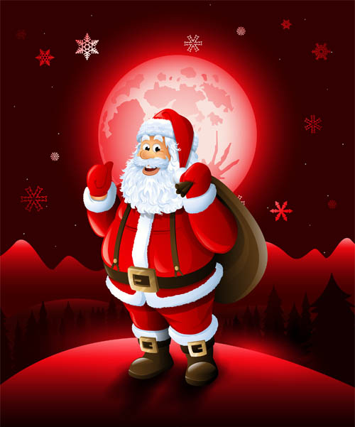 Christmas Santa With Red Xmas Background Vector Vector