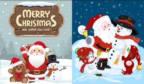 christmas santa backgrounds set vector free download