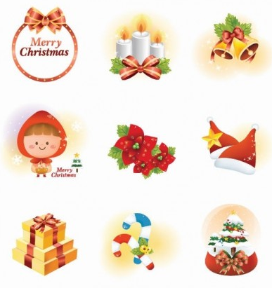 Christmas gift with ornaments Icon vector