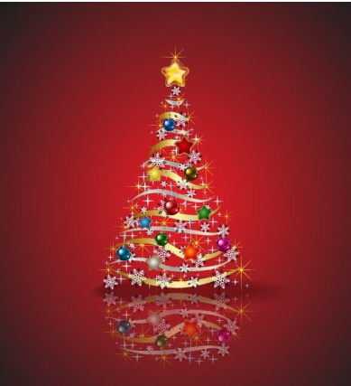 Christmas Tree and red background