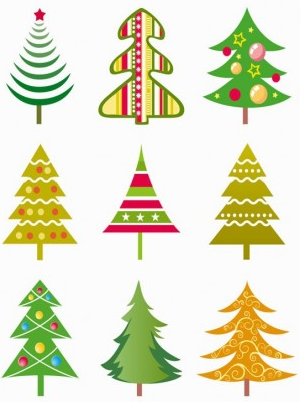 Cute christmas tree icons material