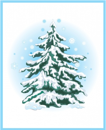 Simple Christmas tree with snow vector - Vector Christmas ...