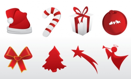 Christmas red icons free  vector