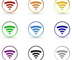 Circle WI-FI icons set